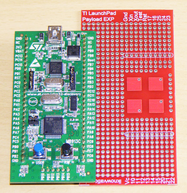 STM32VL Discovery with iknowvations Experiment Board.