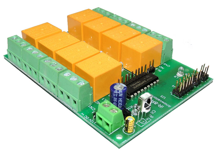 8 ch IR remote control relay card with programmable RC5 code iR-8R-V launched.