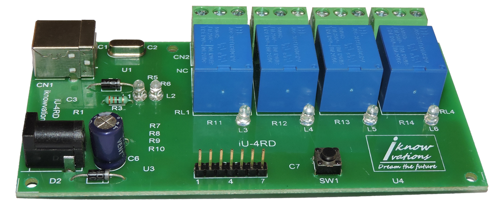 4 channel USB Relay & DAQ board iU-4RD launched.