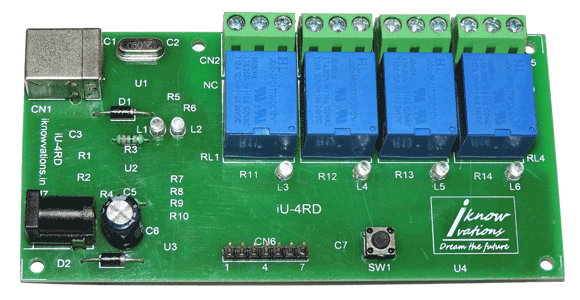 4 channel USB relay & daq board