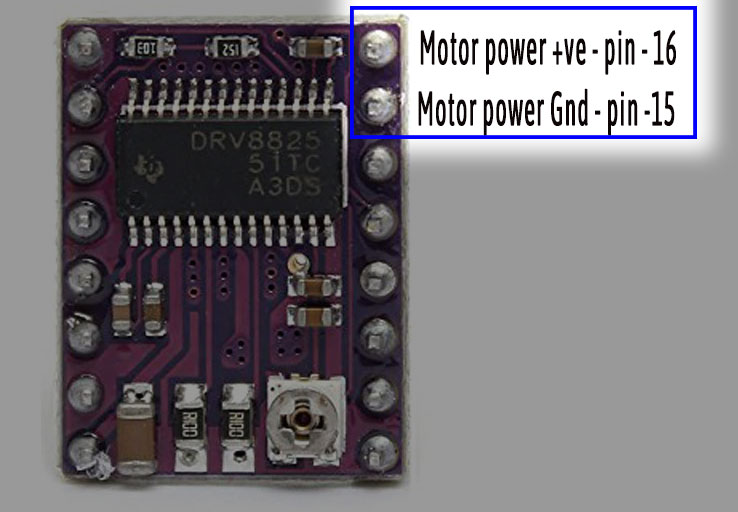Power pins of DRV8825 stepper motor driver module - Iknowvations.in